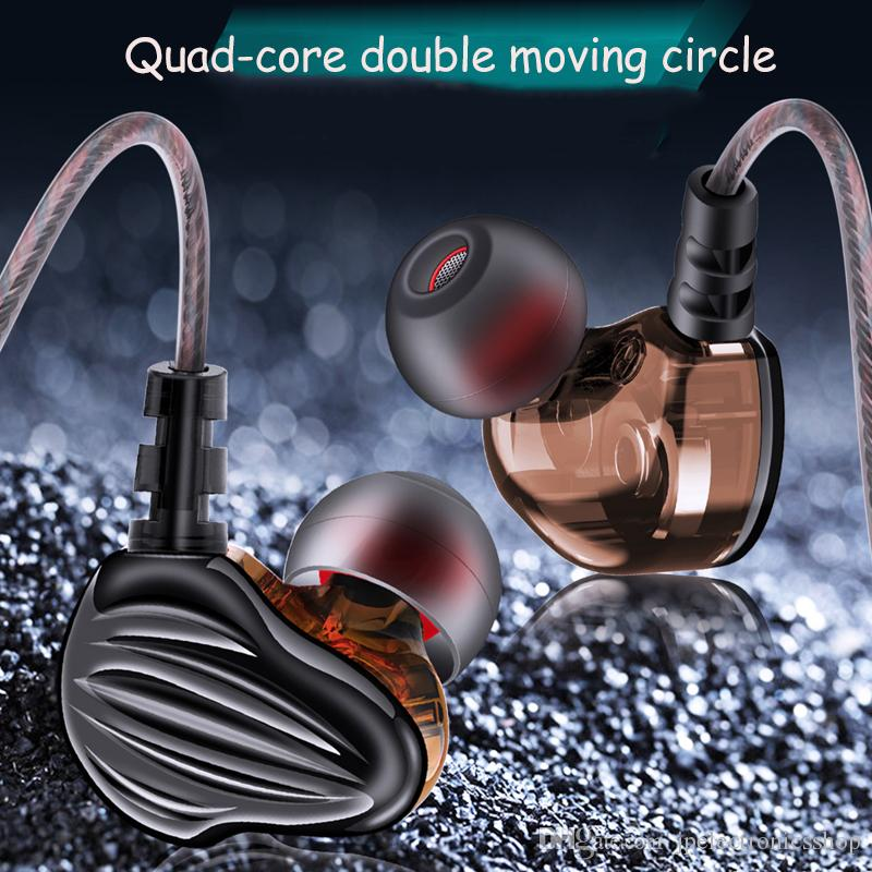 NEW In-ear headphones quad-core Double acting coil speaker HIFI subwoofer mobile computer music waterproof headphones support 1PCS delivery