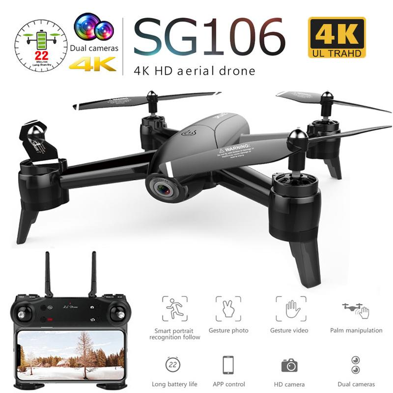 Sg106 Drone With Dual Camera 1080p 720p 4k Wifi Fpv Real Time Aerial Video Wide Angle Optical Flow Rc Quadcopter Helicopter Toys T190621