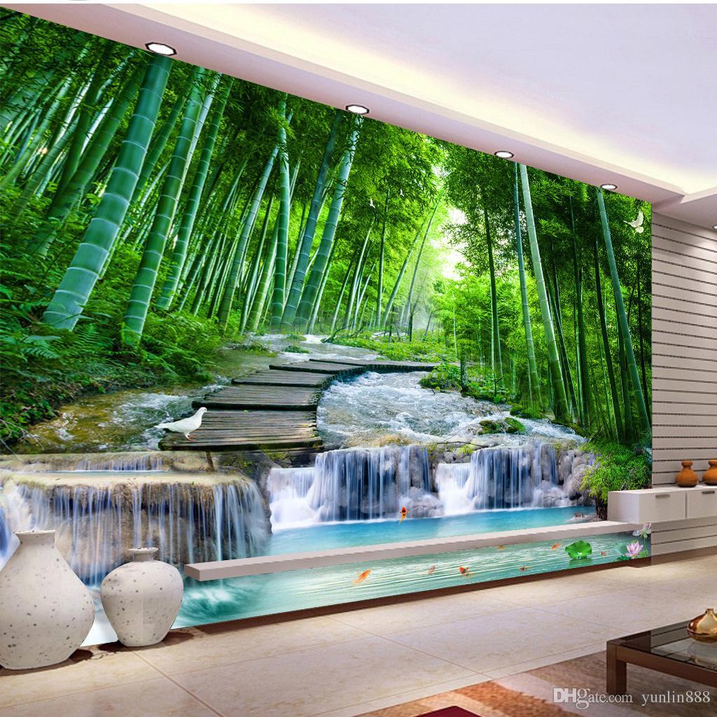 2019 Yeni 3d Duvar Kağıdı Yeşil Bambu Ahşap Köprü Su TV Arka Plan Duvar HD Üstün İç Dekorasyon Duvar Kağıdı