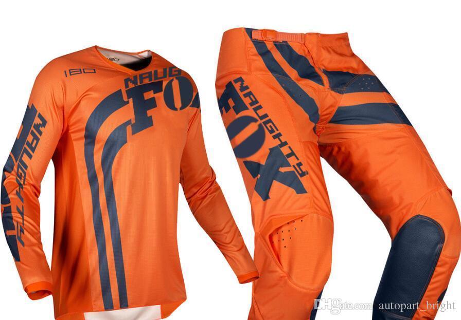 free shipping 2019 NAUGHTY Fox Mens Blue/White 180 Cota Dirt Bike Jersey & Pants Kit Combo Adult Motocross Gear Set MX/ATV Dirt Bike
