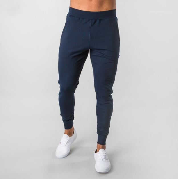 Hose Solid Color Mens Jogginghose beiläufige dünne elastische Taillen-Knöchel mit einem Band versehene Hosen Herren Jogging Laufsport