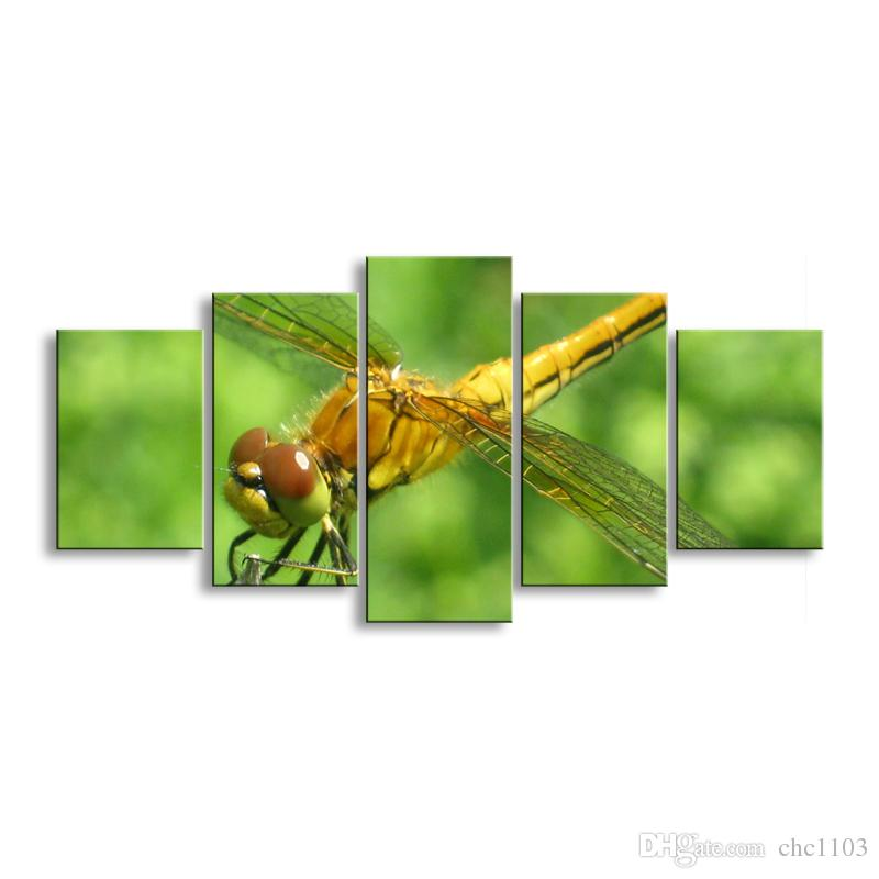 5 pieces high-definition print dragonfly canvas painting poster and wall art living room picture QIT5-003