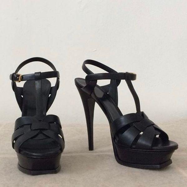 Kadınlar lüks Tasarımcı sandalet Tribute Platformu Sandalet T-kayışı Yüksek Topuklu Sandalet Bayan Ayakkabı Parti Ayakkabı kutusu ile 10 cm 14 cm ABD 4-11
