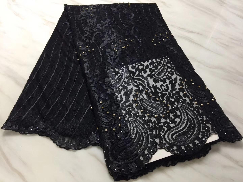 Черная африканская кружевная ткань 2019 высокое качество кружева французская сетчатая ткань бисерные камни нигерийские швейцарские кружевные ткани для платья