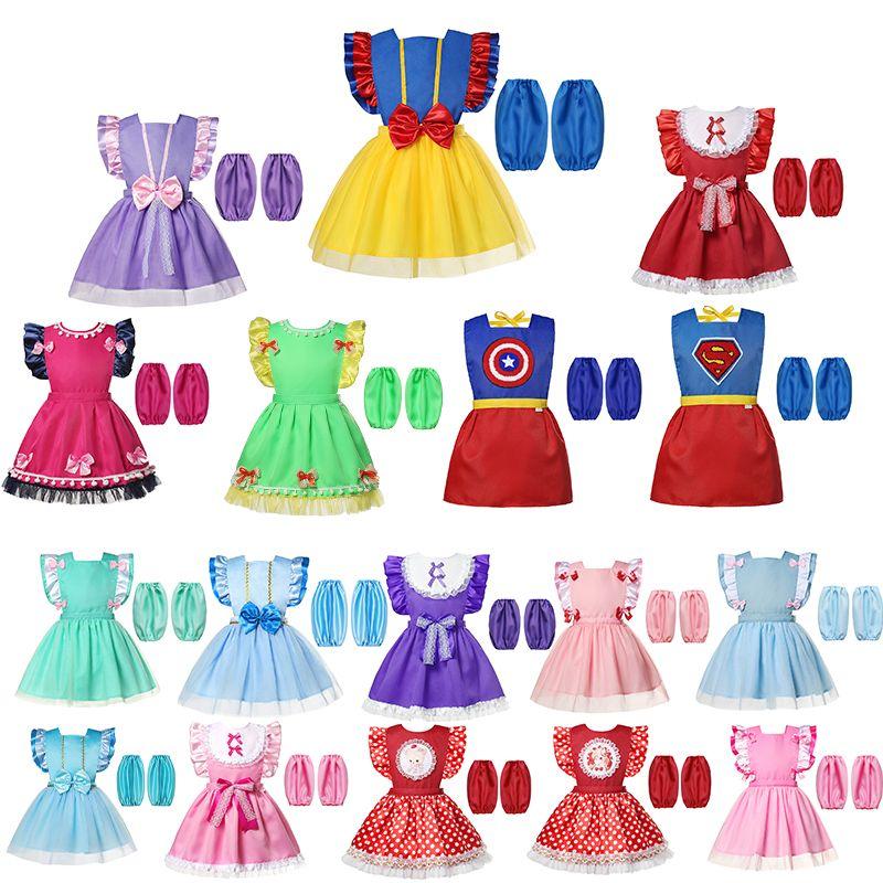 17 Styles Baby Girl Bibs Toddler Cute  dress Burp Cloths Infant Waterproof Smock Princess Cosplay Apron+sleeve dropping ship