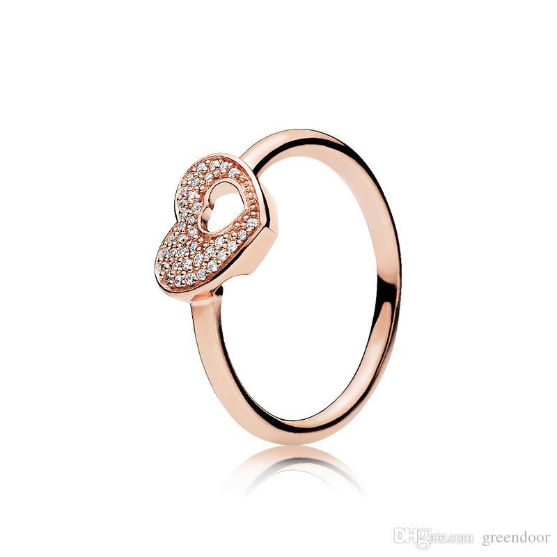لطيف حلقة شكل قلب ل باندورا 925 الفضة روز الذهب على شكل قلب على شكل قلب الأزياء الاتجاه الاسترليني الفضة الدائري هدية الإناث