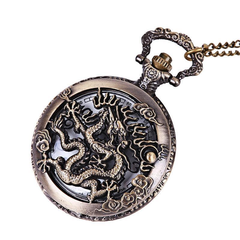 Cœur Horloge Collier Montre De Poche Style Antique Bronze Pendentif Rétro Vintage