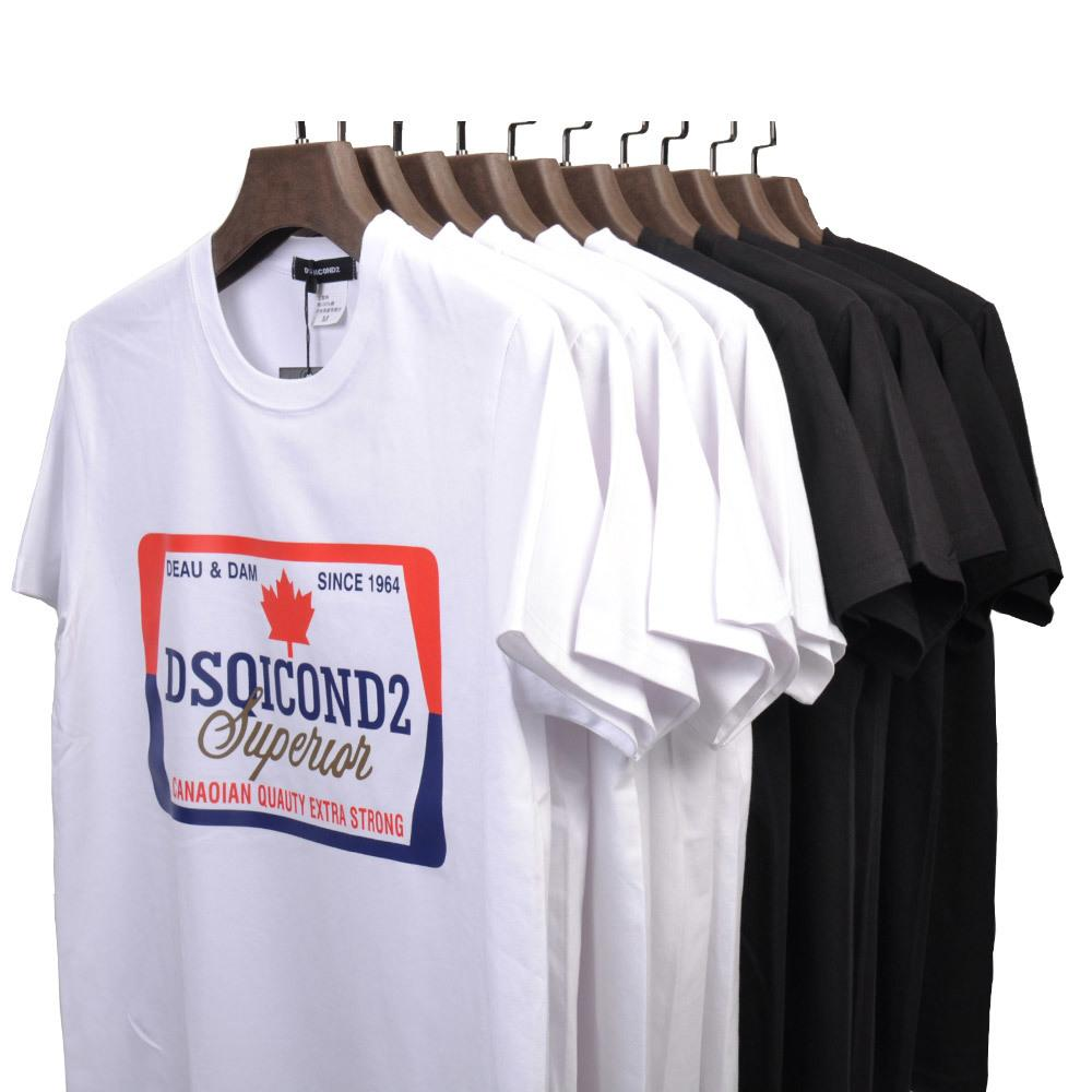 DSQICOND2 Summer Tees Men's T Shirt Short Sleeves Men Tops Print 100%Cotton Fashion Tide Casual Loose Couple Short Sleeve Tees CJ200410
