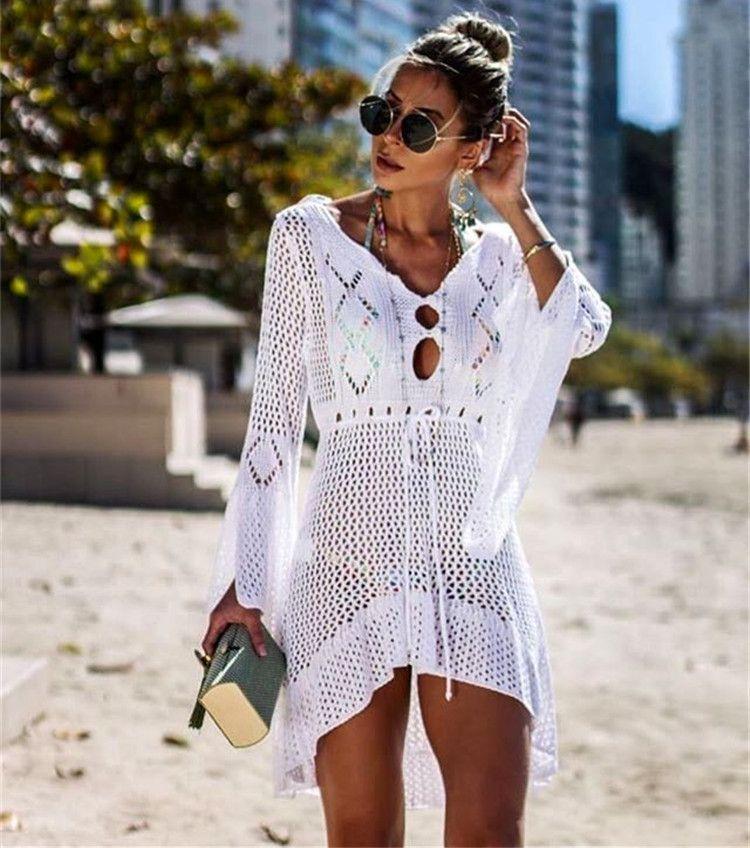 Women White Knitted Beach Cover-Ups Swimwear Dresses Pareo de Plage Swimsuit cover Up Beach wear Pareos de Playa Mujer Bikini Cover up