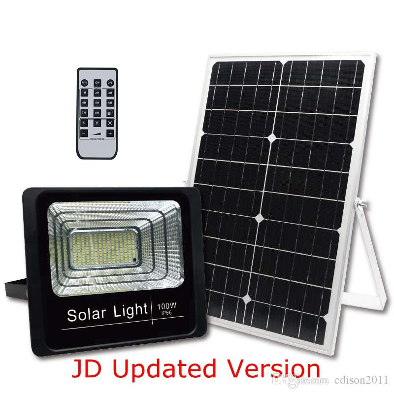 Edison2011 2019 JD New Upgrade Version 25W 40W 60W 100W Solar Lamps Floodlight LED Flood Light Garden Spotlight with Remote Timed Controller