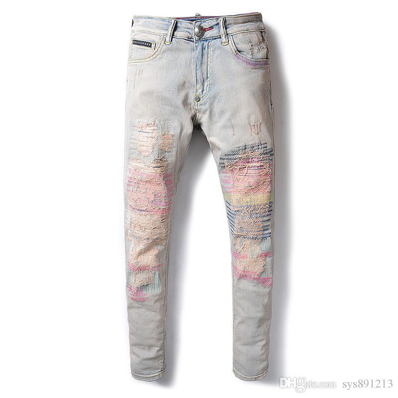 20ss erkek tasarımcı pantolon yeni gündelik sıkı spor pantolon erkek giyim tasarımcısı kot hip-hop erkek kot
