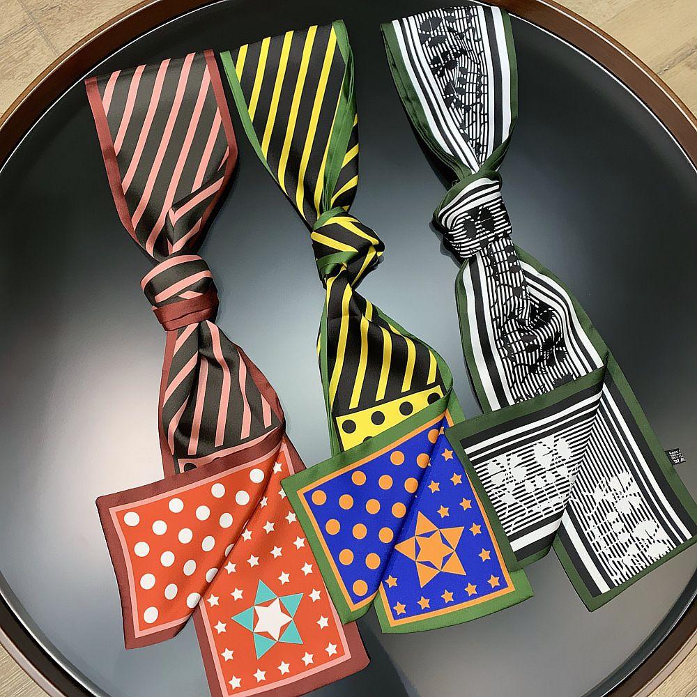 16 * 13см корейских шарфов стиля для оптовых женщин осенью новой туристической полоса соответствия цвета двойного слоя Печатного Satin шарфа шарфа