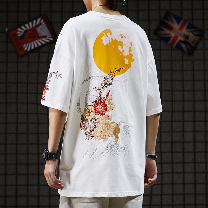 2020 / The New20 Лето Национальный моды Китайский стиль Вышитые с короткими рукавами футболки мужчин и женщин любителей Ins Hip Hop Fashion Brand All-ма