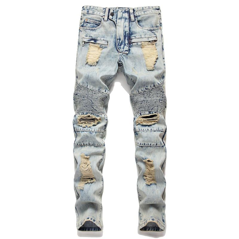 Fashion Men Ripped Motorcycle Jeans Straight Biker Denim Trousers Pants For Man Washed Distressed Moto Jean Joggers