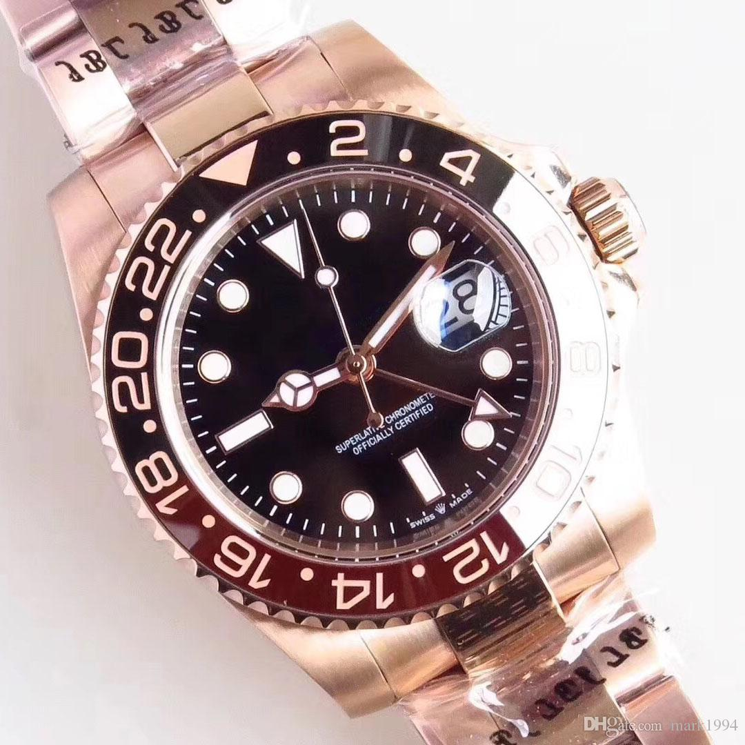 U1 مصمم مان 2813 الساعات الميكانيكية التلقائية الطلب الأسود روز الذهب GMT وظيفة الفولاذ المقاوم للصدأ الكامل 40 ملليمتر سوبر مضيئة للماء