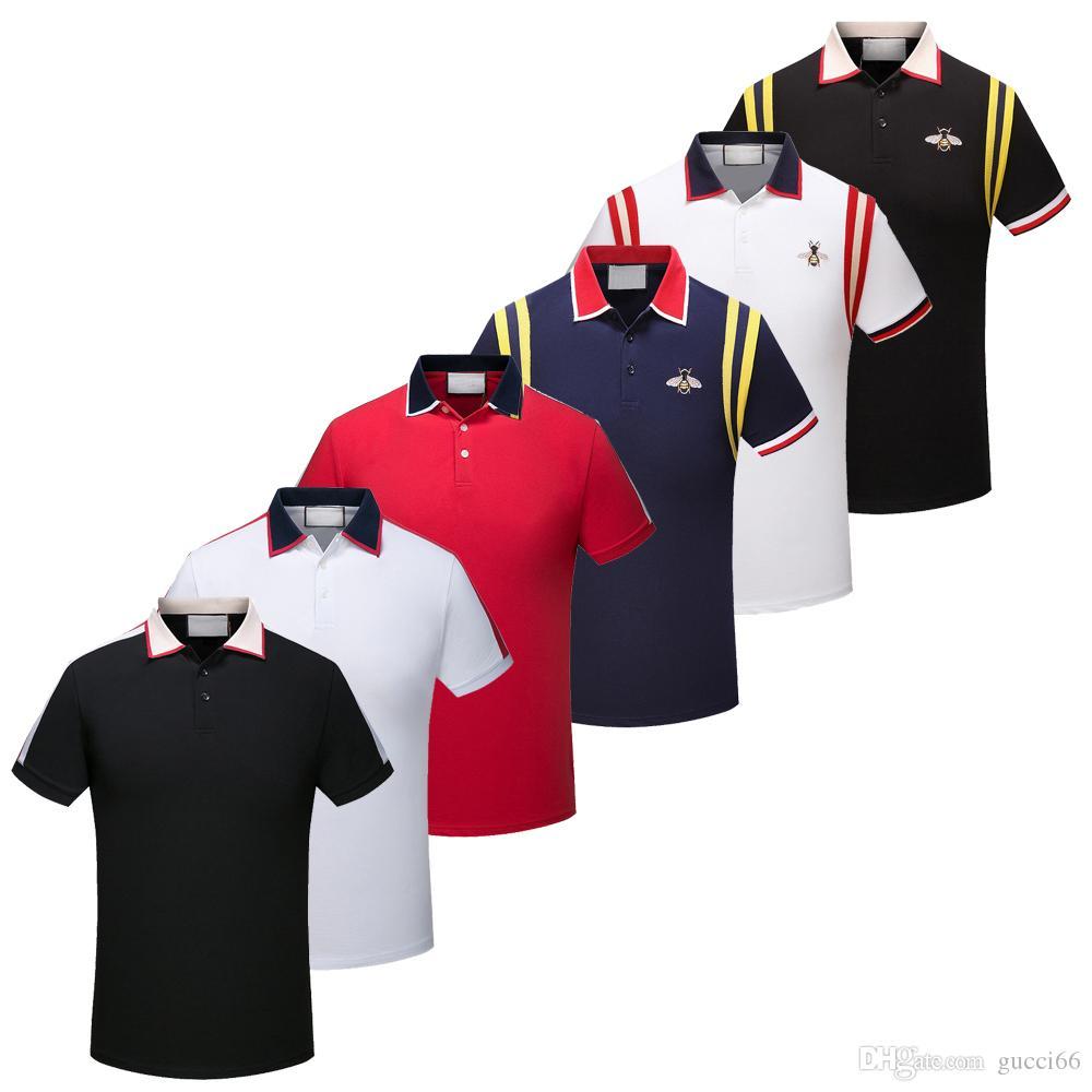 Brand New Men Camisas Polo de Manga Curta Moda Clássico Casual Polo Camisas de Rua Alta Abelha Cobra Floral Bordado Mens Polos Camisa