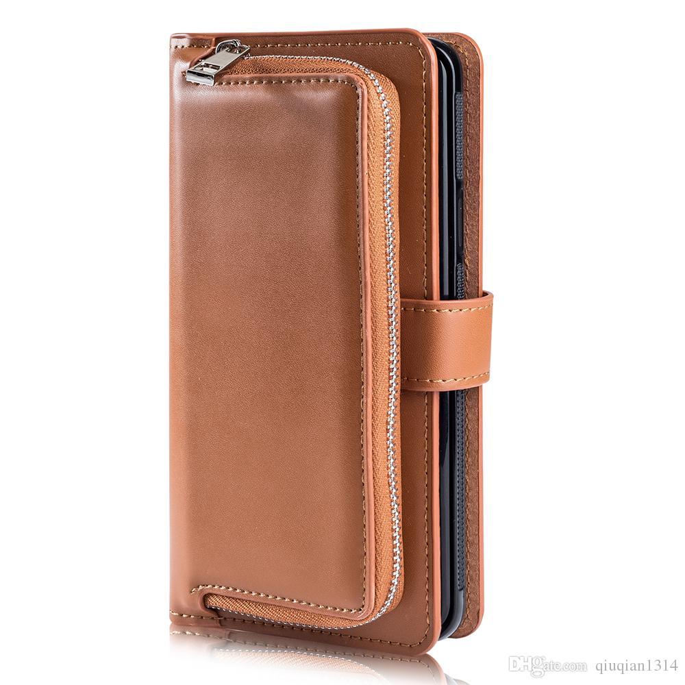 Cubierta protectora de cuero para Samsung S10e S10 S8 S9 Plus Nota 8 Nota 9 Monedero de la tarjeta magnética cubierta desmontable para Samsung