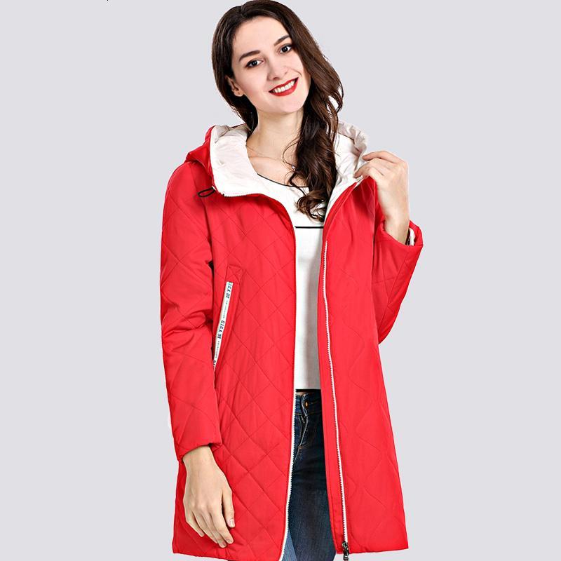 2019 İlkbahar Güz Kadın Parka Coat İnce Kadınlar Ceketler Uzun Plus Size Kapşonlu Yüksek Kalite Sıcak Pamuk Palto Yeni Dış Giyim CJ191128