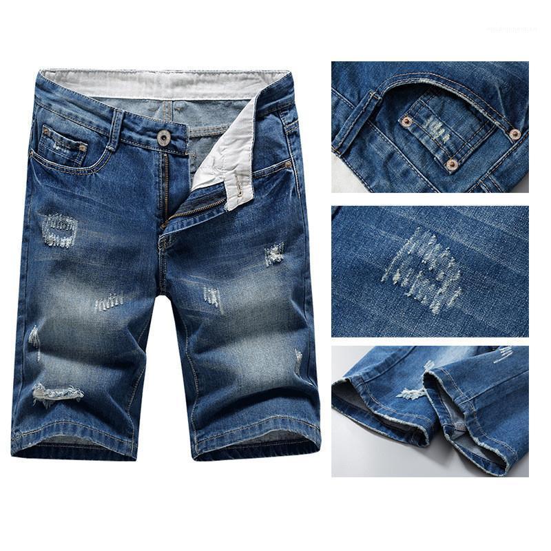 Сыпучие Solid Color Plus Размер Шорты Мужские дизайнерские Брюки мужские рваные вскользь Denim шорты мода