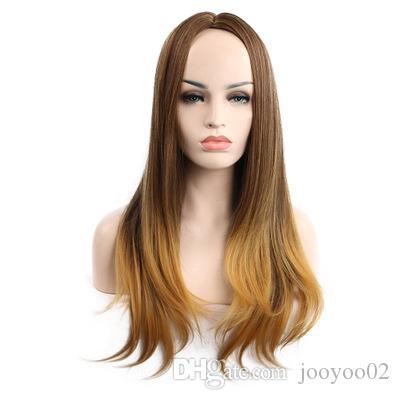 Nuova parrucca calda di vendita Fashion Lady Bangs Gradiente capelli lunghi ricci Fibra chimica alta temperatura onda sciolto di seta