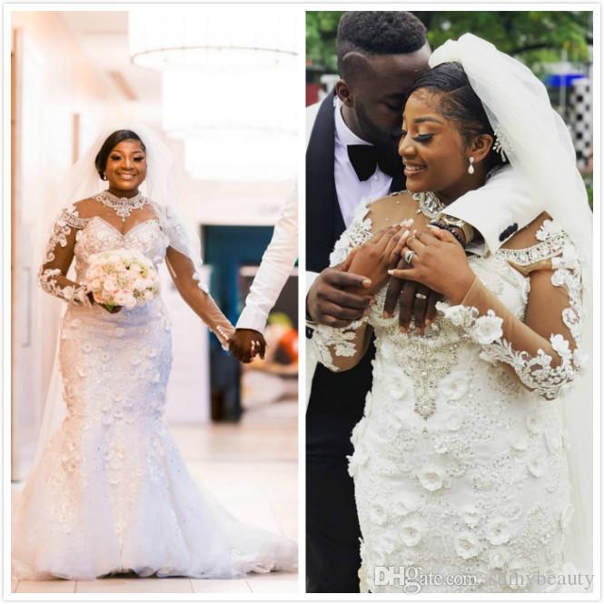 Árabe Aso Ebi del tamaño extra grande de lujo cristales de sirena de la boda vestidos de encaje de cuentas Sheer vestido de novia de cuello Vestidos de novia Vestidos de noiva