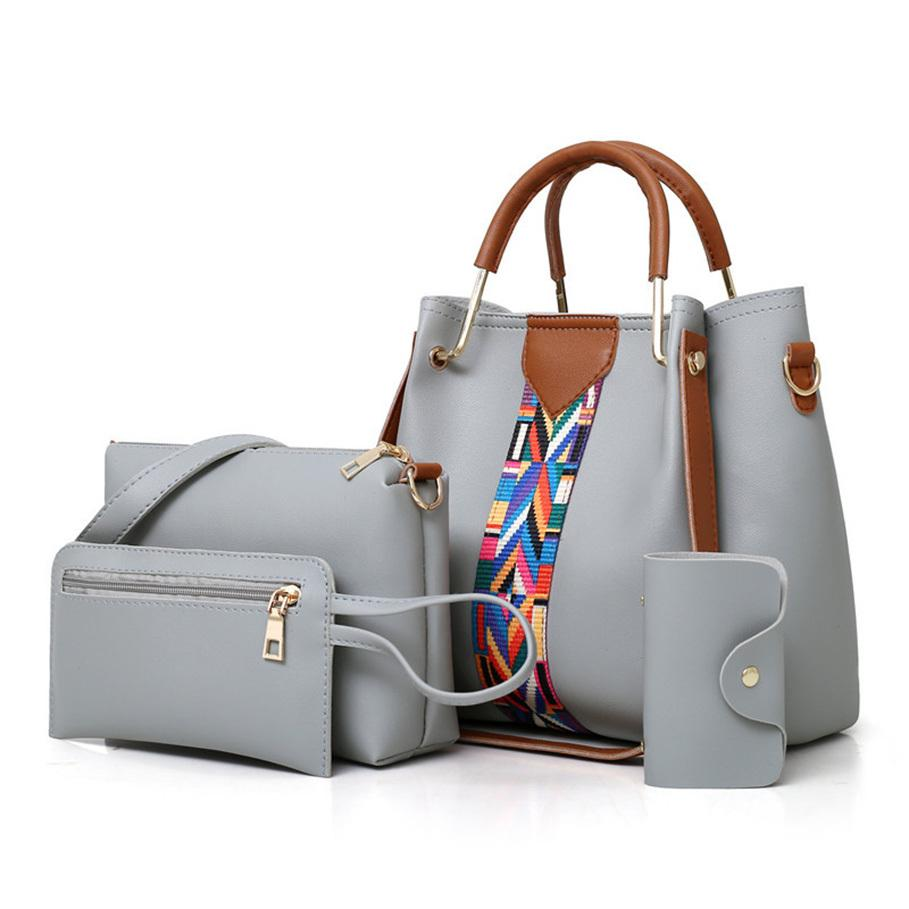Горячие новые 4шт/набор женщин сумки кожаные сумки женщин большой емкости свободного покроя Сумка ведро сумочки-мессенджер мешок основной Y200623
