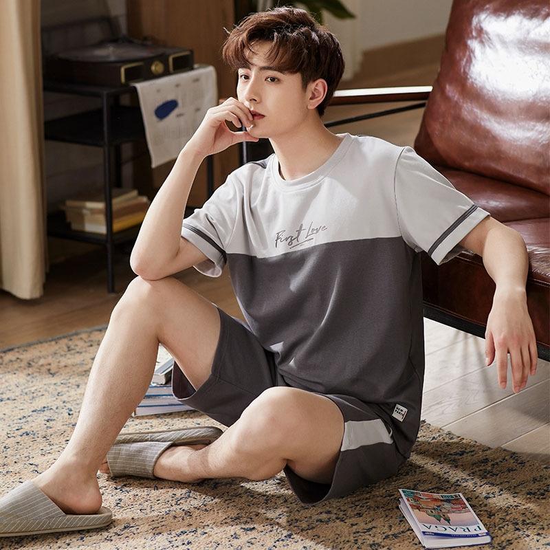 Пижамы мужского хлопка летом тонкий с коротким рукавом случайной осенью хлопок открытых шорт и шортами мужского Гимнастического костюма