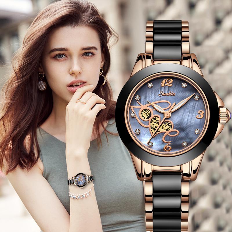 atacado Top Quality senhoras Rhinestone relógio de luxo Rosa de Ouro Preto cerâmico impermeável Mulher relógios Classic Series Assista Ladies