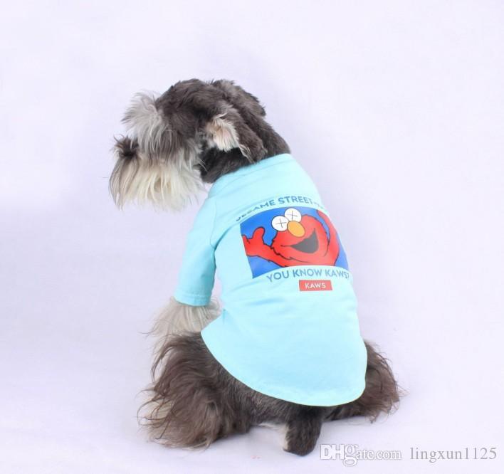 Pet весной и летом тонкий короткий рукав Улица Сезам Прекрасный отдых собаки футболка