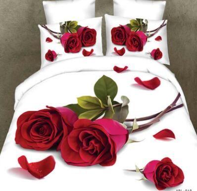 Unihome 3D 빨간 로즈 침구 세트 독특한 웨딩 침구 퀸 사이즈 4PCS 코튼 린넨 이불 / 이불 / 이불 깃털 이불 커버 세트