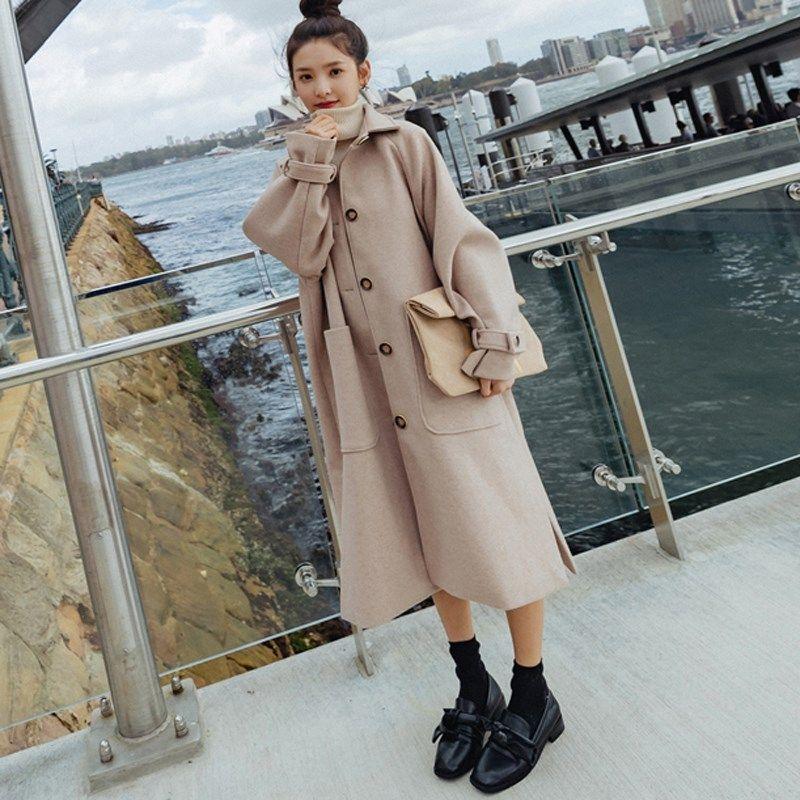 2019 mulheres inverno quente Blends Wool Jacket Feminino Oversize Pockets longo Casacos Turn-Down Collar soltas Casual casaco comprido de lã
