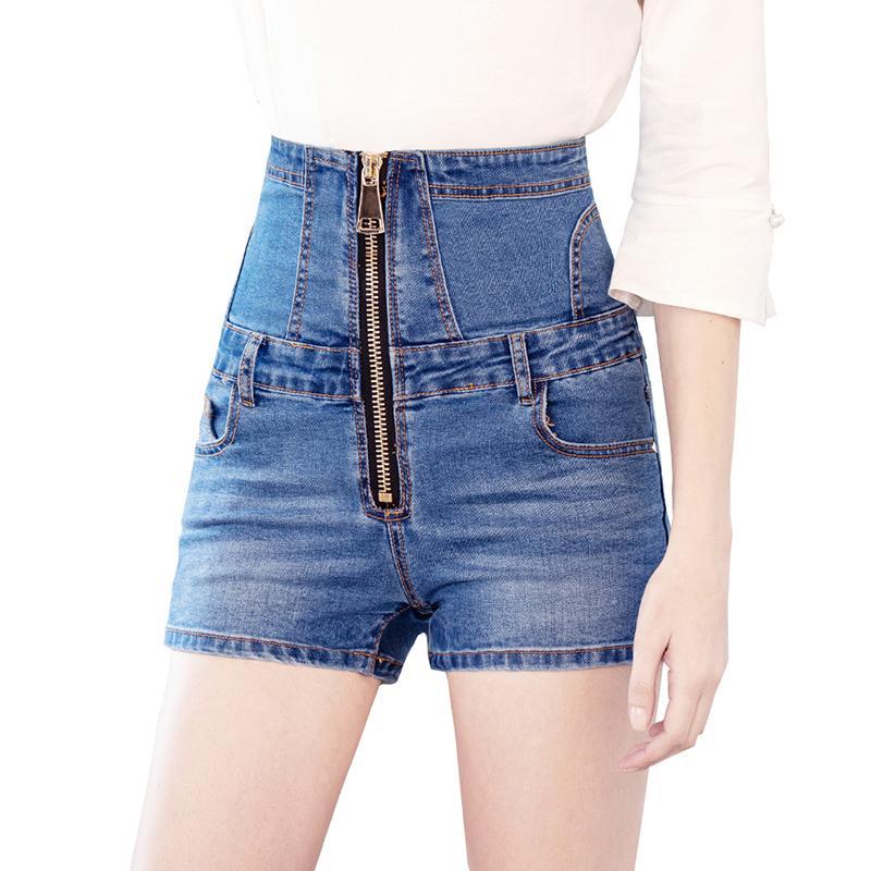 Sokotoo Women's high waist lace up denim shorts Summer plus size zipper skinny stretch jeans Black Blue