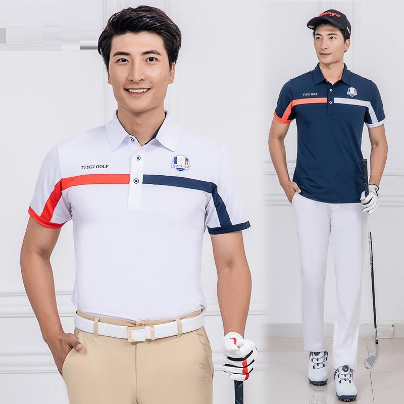 2020 Мужчины Golf T Shirt Лето дышащий с коротким рукавом рубашки T мужчин Turn Down Воротник Обучение тенниса Спортивная D0653