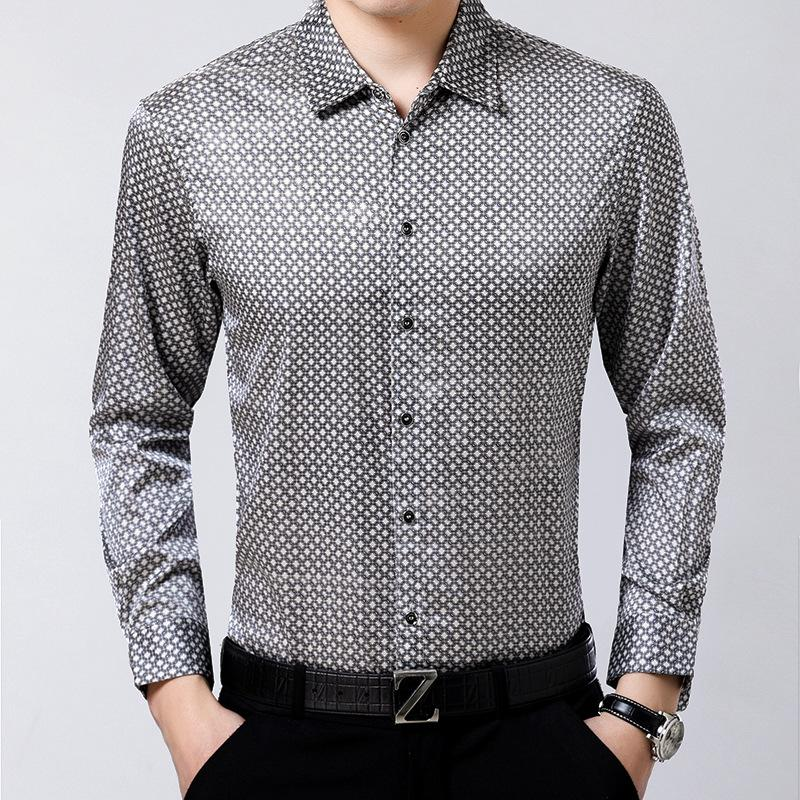 Yeni Erkekler doğal% 92 İpek Gömlek İşletme Küçük Ekose İpek Saten Jakarlı Kırışıklık Ücretsiz Gömlek