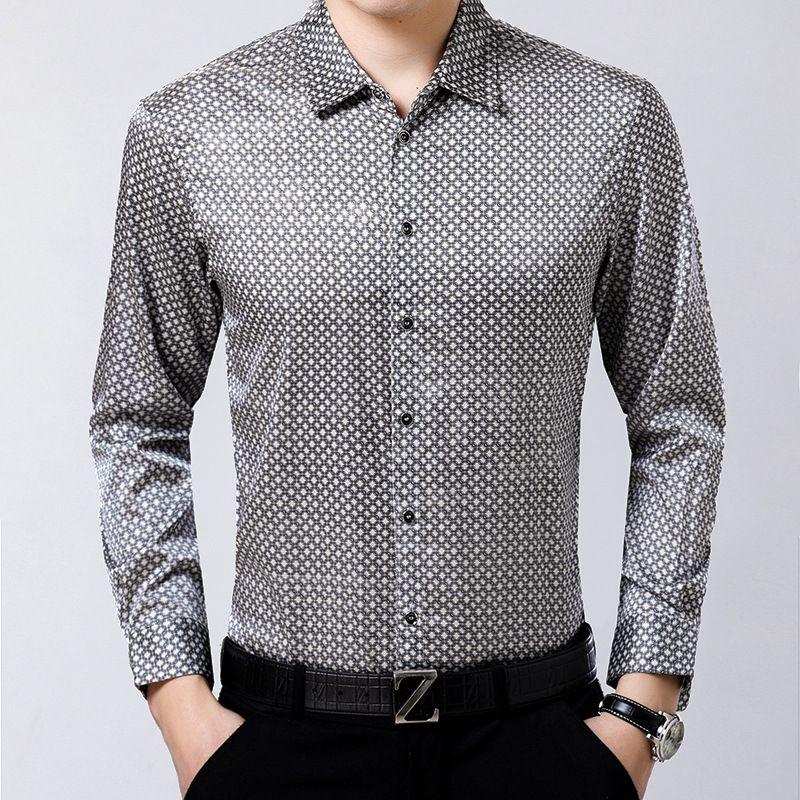 Herrenkleid Hemden Natürliche 92% Seide Shirt Business Small Plaid Satin Jacquard Faltenfrei