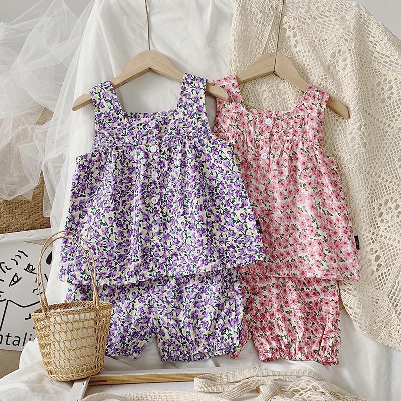 2020 Sommer-neue Ankunfts-Mädchen-Mode-Blumen 2 Stück Anzug Top + short Kinderkleidung
