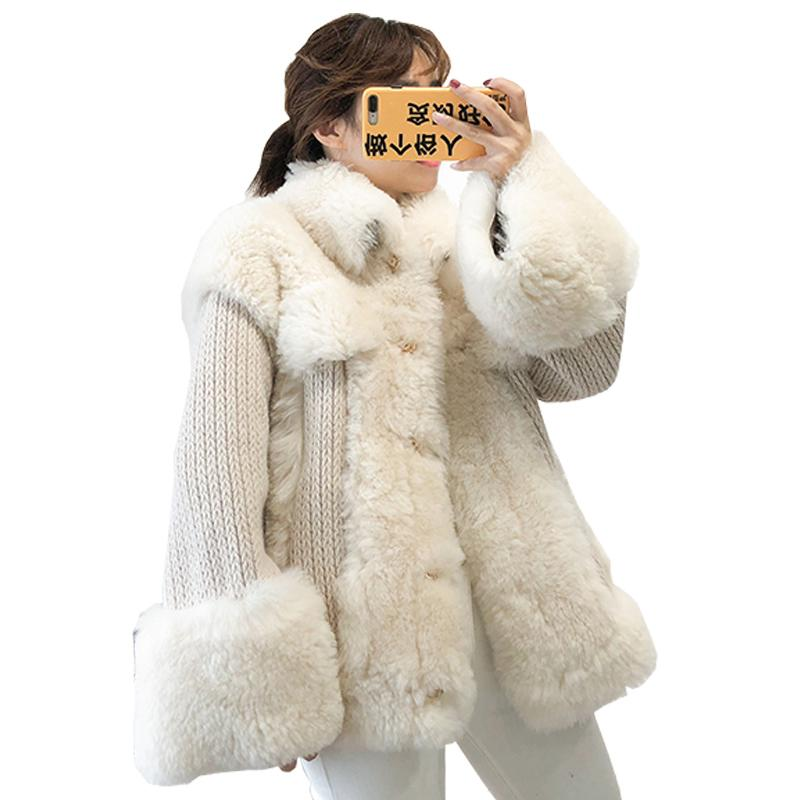 Real-Pelz-Mantel-Frauen-Kleidung 2018 Herbst-Winter-Wolle-Pelz-Mäntel Korean Vintage-Jacke Overcoat Manteau Femme Hiver ZL814
