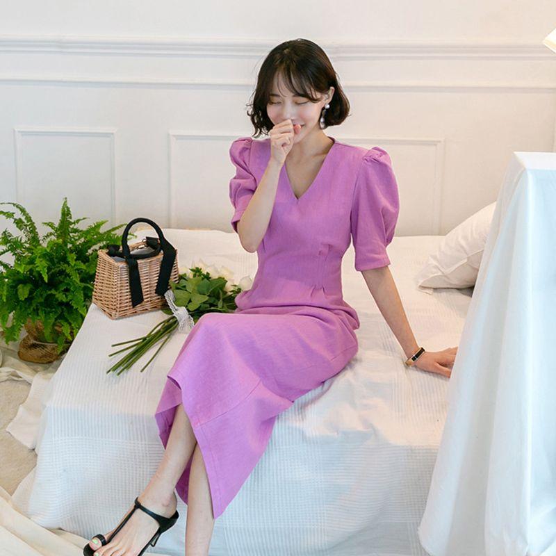 Günlük Elbiseler 2021 Kadınlar Yaz Kore Bodycon Elbise Mor Seksi Slim Fit Parti Giyim Ofis Bayan Zarif Vestidos KA829