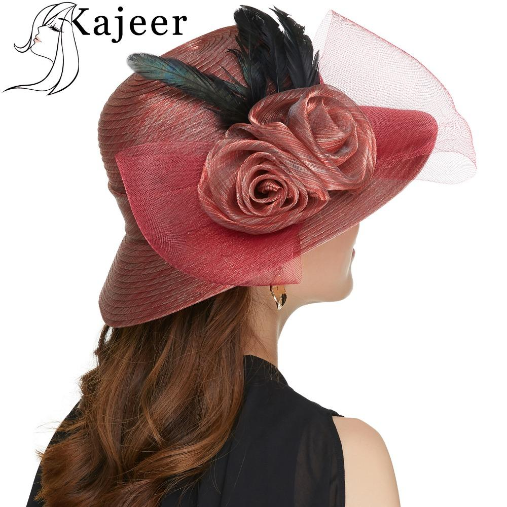 Kajeer 2019 Gauze Feather Fedora Hat Elegant Princess Hats Felt Brim Hats Bowknot Bowler Caps Sun Ladies Hat Cap