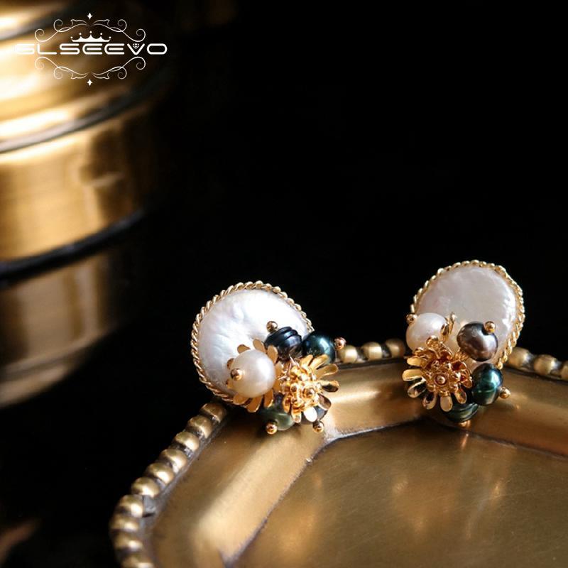 Glseevo handmade naturale barocco perla piatta stud per le donne della festa nuziale orecchini fiore gioielli di lusso Ge0650 SH190715