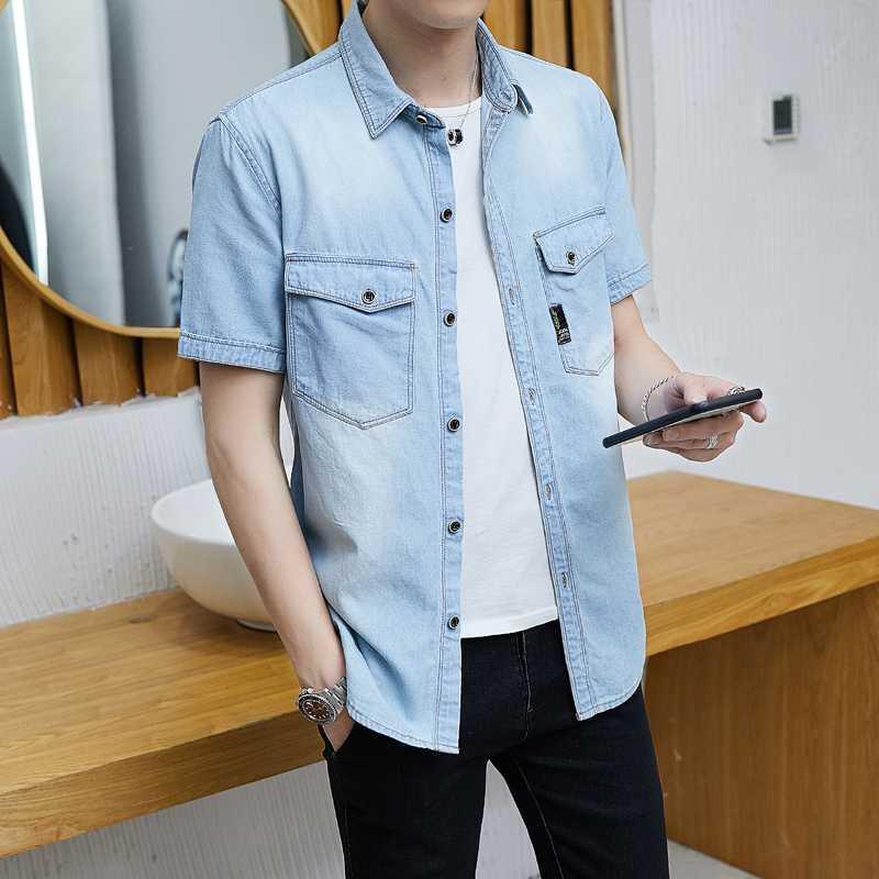 2020 Summer Fashion Blue Jeans Shirt Men Short Sleeve Cotton Solid Casual Shirts Male Denim Shirt Slim Fit