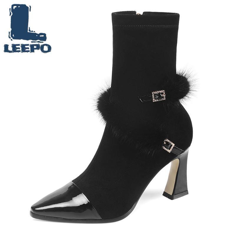 Las mujeres media pantorrilla botas de cuero de vaca de la tela de estiramiento de la cremallera Tacones altos Mujer de alta calidad de los zapatos gruesos botas para mujer 2020