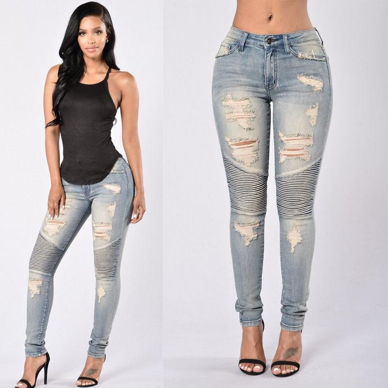 Fashion-Stretch Ripped Sexy Узкие джинсы женщин высокой талией Slim Fit Denim брюки Тонкий Denim Straight Байкер Тощий рваные джинсы Размер S-2XL