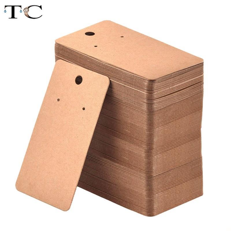 100Pcs Kraft Paper Blank Schmuck-Anzeigen-Karte Karton Ohrring Paket-Fall-Umbau-Brown-5 x 9 cm