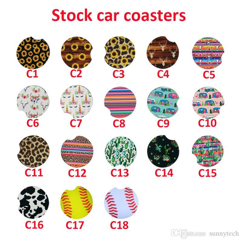18 Style Neoprene Car Cup Mat Contrast Mug Sottobicchiere Fiore Tazza da tè Colori arcobaleno Pad per accessori per la casa LX1626