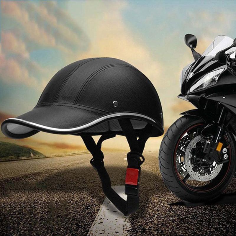Bisiklet Kaskı PU Beyzbol şapkası Stil Spor Binicilik Şapka Yarım Bisiklet Motosiklet Kaskı Emniyet Kaskı Visor Binme Ekipmanları