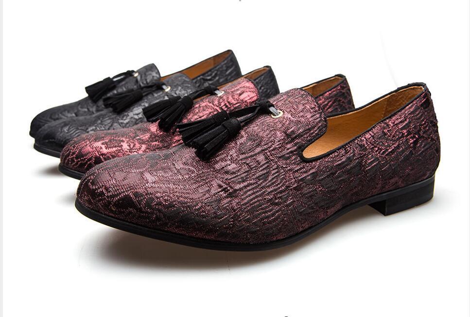 2018 Novo Estilo Verão Outono Genuine couro feitos à mão Mens Loafers Com Tassel vestido do homem Shoes Wedding Party mocassim Calçado U45