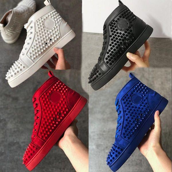 Christian Louboutin Shoes Box ile Erkek Dikenler Yüksek üst Sneakers Ayakkabı Kadınlar Kırmızı Alt konumundadır Dikenler Eğitmenler Studs Düğün Ayakkabı