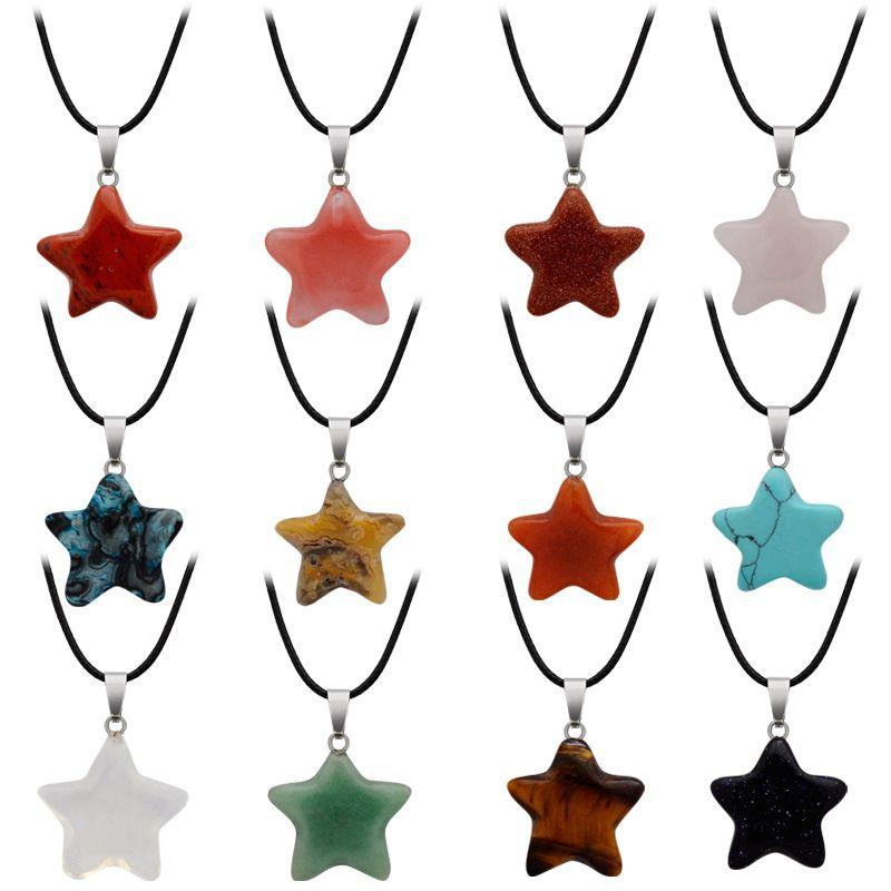 Collana della collana del pendente della stella della luna monili di modo per le donne Uomini Girl Girl Crystal Quartz Pietra della pietra del fascino del turchese con catena di cuoio dell'U