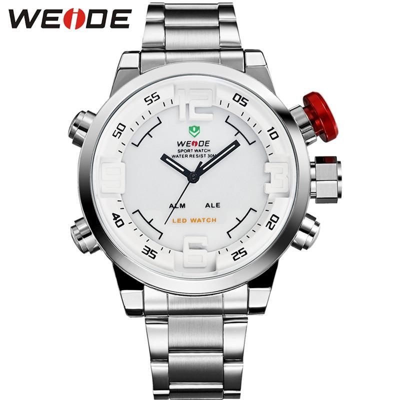 WEIDE Luxus Silber Metallgehäuse Armband Gürtel Male Quarz-Digital-Zahl führte Dual-Alarm beiläufige Art und Weise Uhr Relogio Masculino